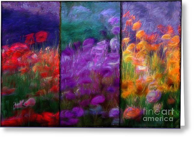 Orange Poppy Greeting Cards - Painted Poppies Triptych Greeting Card by Mindy Sommers