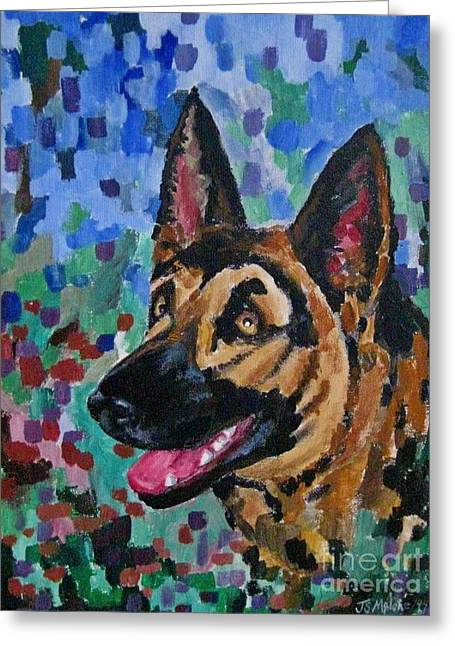 Painted Puppies Drawings Greeting Cards - Painted Portrait of German Shepherd Greeting Card by John Malone