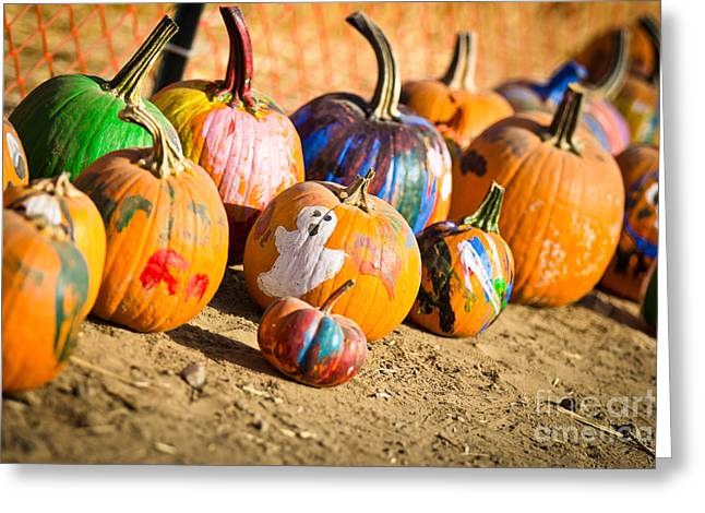 Harvest Art Greeting Cards - Painted pumpkin Greeting Card by Ava Peterson
