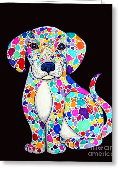 Colorful Creatures Drawings Greeting Cards - Painted Puppy 2 Greeting Card by Nick Gustafson