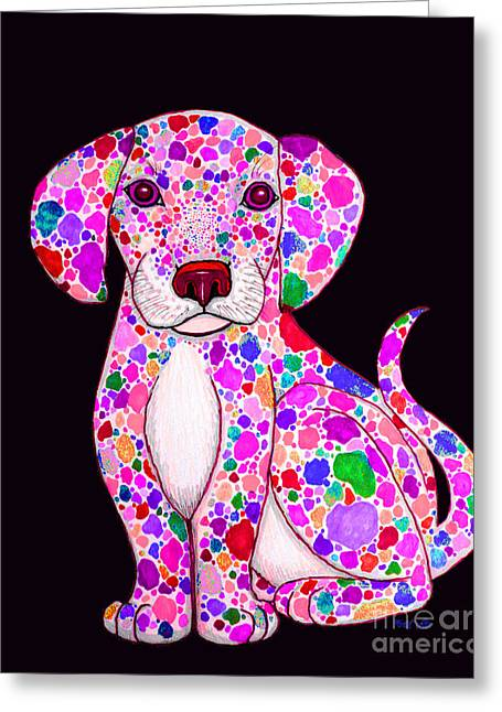 Painted Puppies Drawings Greeting Cards - Painted Puppy 3 Greeting Card by Nick Gustafson