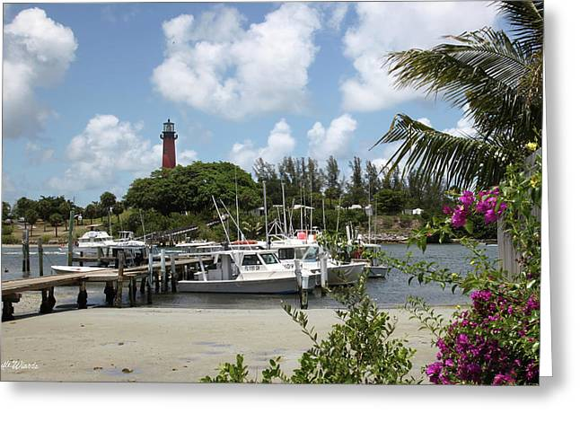 Jupiter Inlet Greeting Cards - Painted Red Around 1910 Jupiter Inlet Lighthouse Florida Greeting Card by Michelle Wiarda