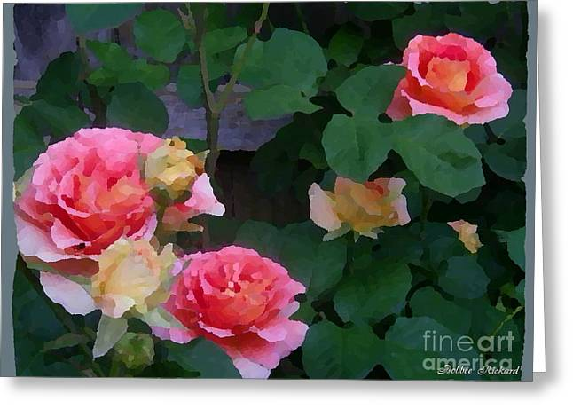 Pillow With Roses Greeting Cards - Painted Roses Greeting Card by Bobbee Rickard