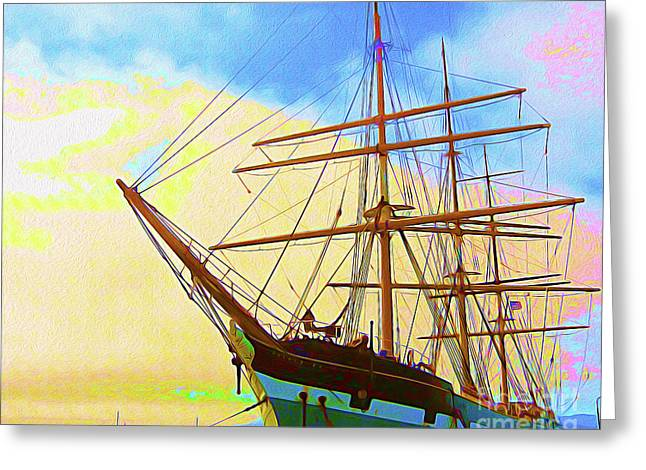 Painted San Francisco Ship I Greeting Card by Chris Andruskiewicz