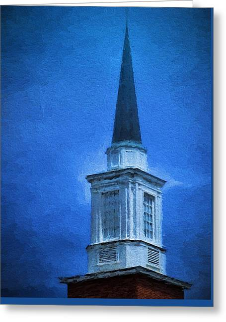 Paint Photograph Greeting Cards - Painted Steeple Greeting Card by Dave Bosse