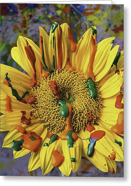 Moist Greeting Cards - Painted Sunflower Greeting Card by Garry Gay