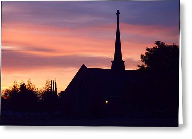 Steeple Mixed Media Greeting Cards - Painted Sunrise Greeting Card by Kathy Franklin