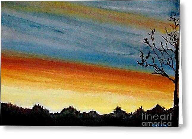 Fall Photos Paintings Greeting Cards - Painted Sunset Greeting Card by Marsha Heiken