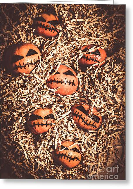 painted tangerines for Halloween Greeting Card by Jorgo Photography - Wall Art Gallery