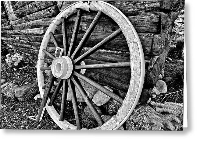 Wagon Wheels Photographs Greeting Cards - Painted Wagon Greeting Card by Ed Boudreau