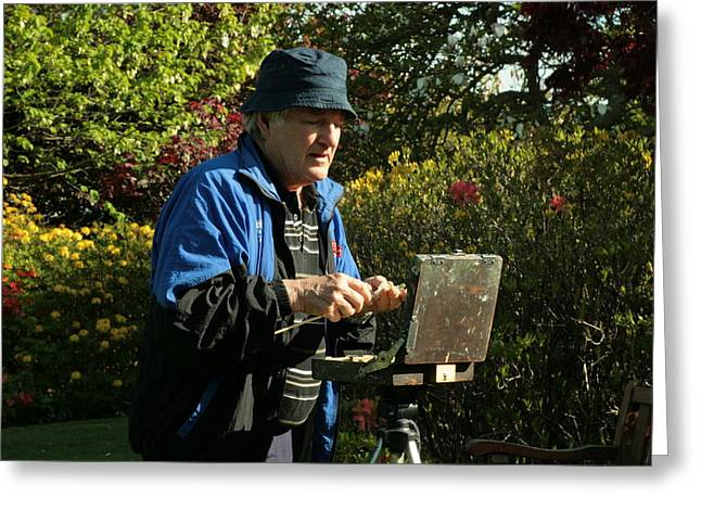 Terry Perham Greeting Cards - Painter At Work 1 Greeting Card by Terry Perham