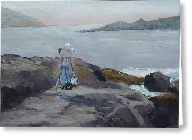 Maine Shore Greeting Cards - Painter of the Sea Greeting Card by Bill Tomsa