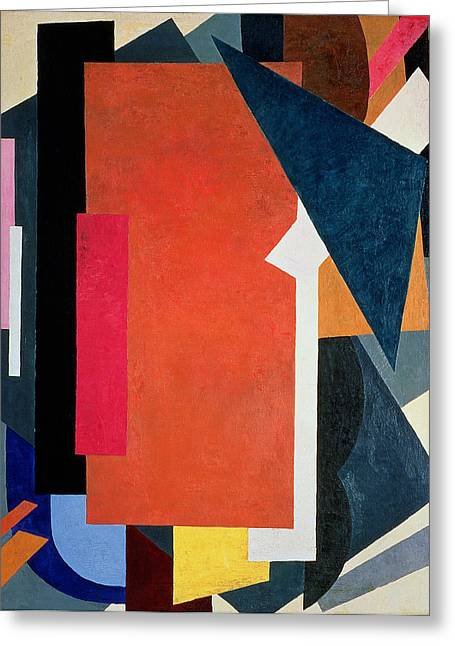 Futurism Greeting Cards - Painterly Architectonics Greeting Card by Lyubov Sergeevna Popova