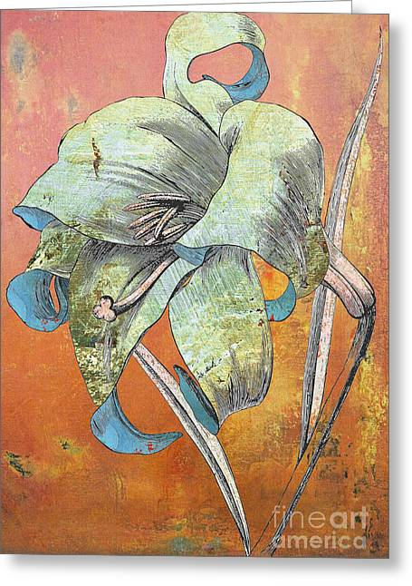 Stationery Mixed Media Greeting Cards - Painterly Lilly in Blue Teal and Orange Greeting Card by Anahi DeCanio - ArtyZen Studios