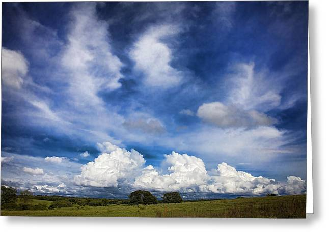 Storm Prints Photographs Greeting Cards - Painterly Sky over Oklahoma Greeting Card by Toni Hopper