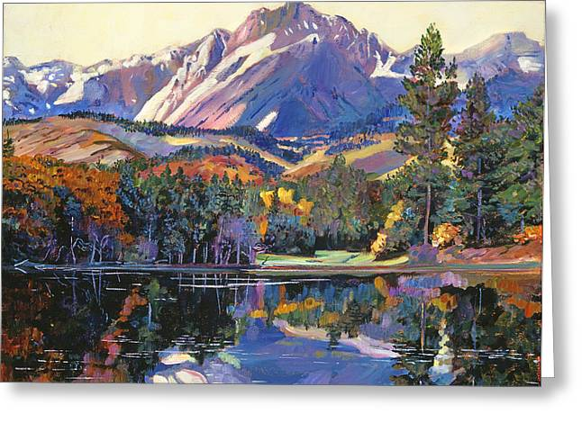 Snow Capped Greeting Cards - Painters Lake Greeting Card by David Lloyd Glover
