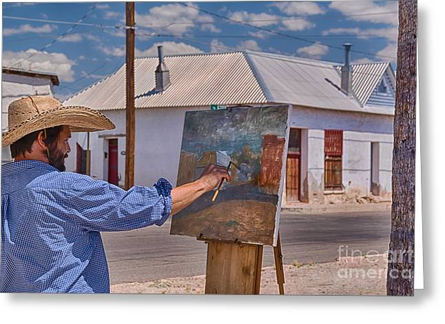 Vintage Painter Greeting Cards - Painting Barrio Viejo Greeting Card by Priscilla Burgers