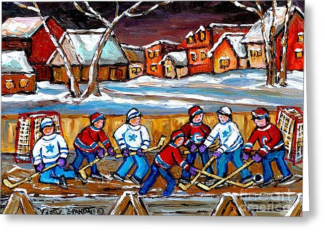 Hockey Paintings Greeting Cards - Painting Hockey Art Hockey Sticks Hockey Goalies Best Original Hockey Art  Greeting Card by Carole Spandau