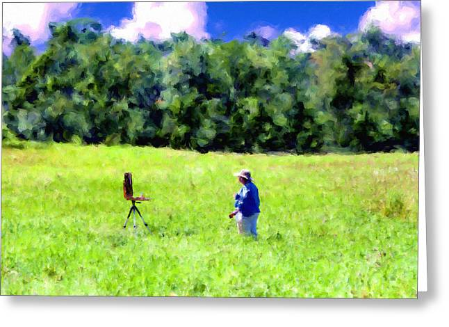 Amesbury Greeting Cards - Painting in a field in Amesbury Massachusetts Greeting Card by Thomas Logan
