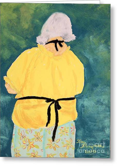 Apron Pastels Greeting Cards - Painting in Her Black Apron Greeting Card by Terri Thompson