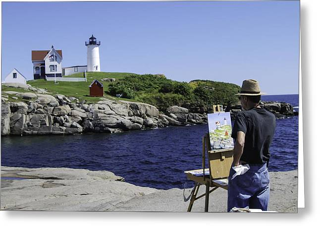 Cape Neddick Lighthouse Greeting Cards - Painting Nubble Greeting Card by Phyllis Taylor