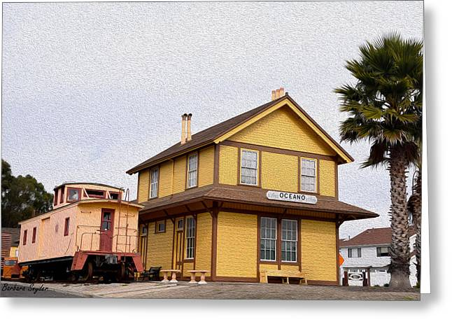 Painting Oceano Depot Museum Greeting Card by Barbara Snyder