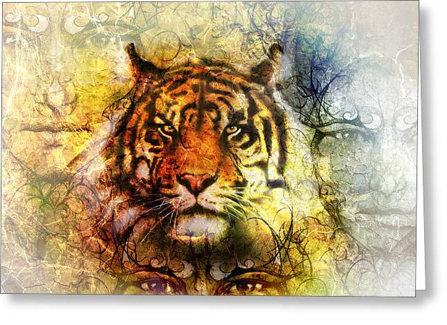 Royal Art Greeting Cards - Painting Of A Bright Mighty Tiger Head On Ornamental Background And Mystic Face Collage Greeting Card by Jozef Klopacka