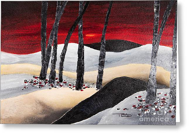 Acrylic Art Greeting Cards - Painting Of A Dramatic Landscape Greeting Card by Tara Thelen