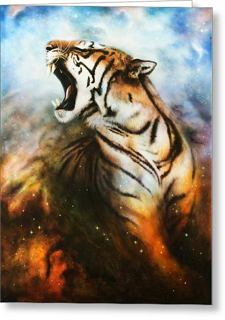 Royal Art Greeting Cards - Painting Of A Mighty Roaring Tiger Emerging From An Abstract Cosmical Background With Starlights Greeting Card by Jozef Klopacka