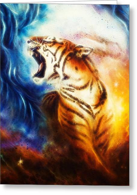 Mystic Art Greeting Cards - Painting Of A Roaring Tiger On A Abstract Cosmical Background Greeting Card by Jozef Klopacka
