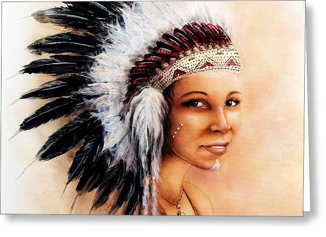 Native American Spirit Portrait Greeting Cards - Painting Of A Young Indian Woman Weaillustration Painting Young Indian Woman Wearing A Gorgeous Feat Greeting Card by Jozef Klopacka