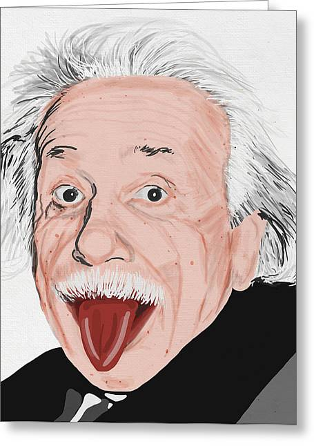 Classroom Greeting Cards - Painting Of Albert Einstein Greeting Card by Setsiri Silapasuwanchai