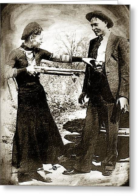 Painting Of Bonnie And Clyde Mock Hold Up Sepia Greeting Card by Tony Rubino