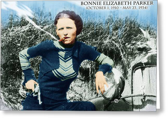Painting Of Bonnie Parker Of Bonnie And Clyde 1 With Text Greeting Card by Tony Rubino