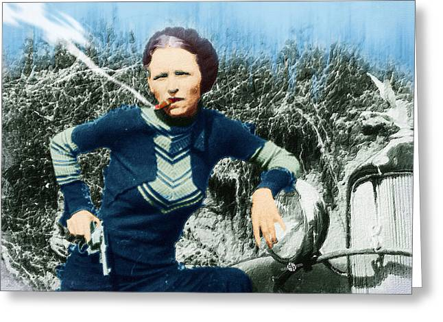Painting Of Bonnie Parker Of Bonnie And Clyde 2 Greeting Card by Tony Rubino