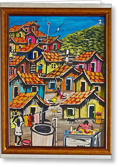 Purchase Greeting Cards - Painting of Favela that I Loved and Purchased in Rocinha Favela in Rio de Janiero-Brazil  Greeting Card by Ruth Hager