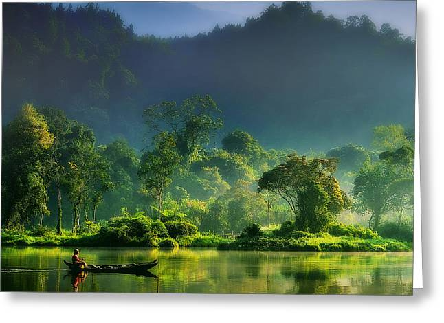 Indonesia Greeting Cards - Painting Of Nature Greeting Card by Hardibudi