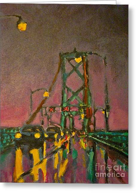 Painting Of Traffic On Wet Bridge Deck At Night Greeting Card by John Malone