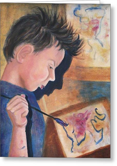 Molleur Greeting Cards - Painting Greeting Card by Suzanne  Marie Leclair
