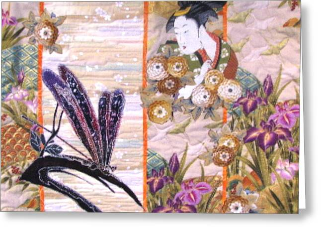Dragonflies Tapestries - Textiles Greeting Cards - Painting the Dragonfly Greeting Card by Judy Sauer