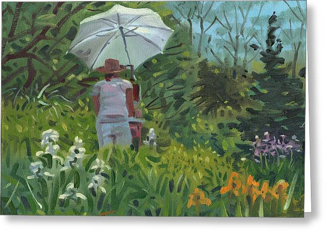 Plein Air Artist Greeting Cards - Painting the Iris Greeting Card by Donald Maier