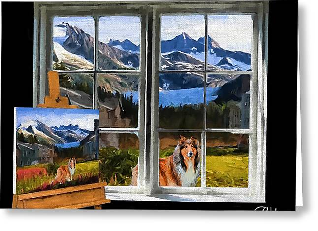 Puppy Digital Art Greeting Cards - Painting the Muse Greeting Card by Chuck Heubach