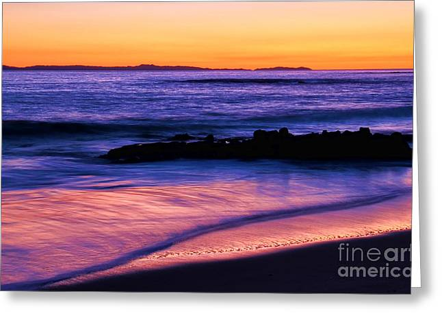 Winter Night Greeting Cards - Painting the Ocean Greeting Card by Mariola Bitner