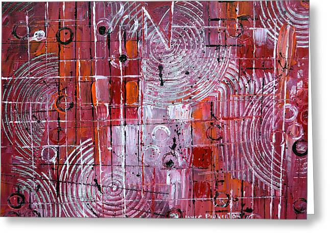 Red Abstracts Greeting Cards - Painting The Town Red Greeting Card by James Pinkerton