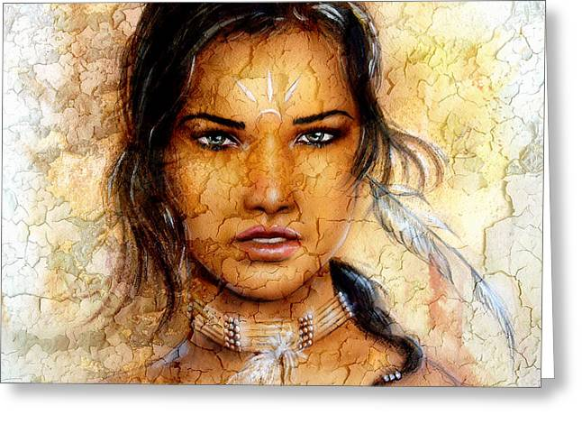Native American Spirit Portrait Greeting Cards - Painting Young Indian Woman Wearing A Feather Eye Cont Crackle Background. Greeting Card by Jozef Klopacka
