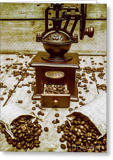 Pair Coffee Bean Bags Spilled In Front Of Grinder Greeting Card by Jorgo Photography - Wall Art Gallery