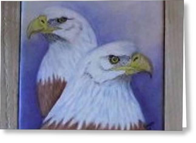 Pairs Ceramics Greeting Cards - Pair of Bald Eagles Trivet Greeting Card by Sandra Maddox