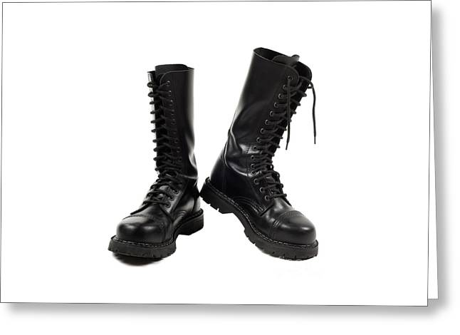 Footgear Greeting Cards - Pair of black leather bovver boots with laces  Greeting Card by Arletta Cwalina