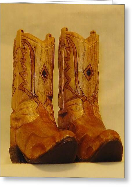 Feet Sculptures Greeting Cards - Pair of Cowboy Boots Greeting Card by Russell Ellingsworth