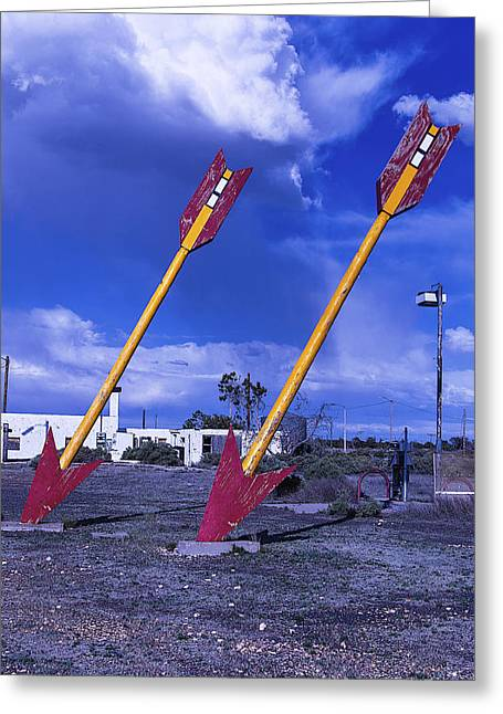 Large Photographs Greeting Cards - Pair Of Roadside Arrows Greeting Card by Garry Gay